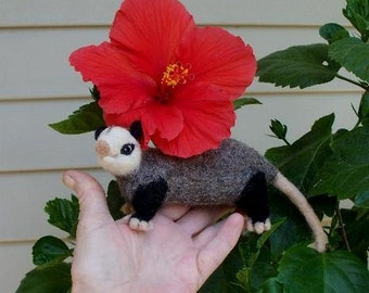 Needle felted oppossum
