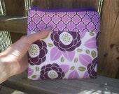 Zippered Pouch Purple Flowers Fabric - Large