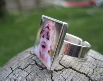 Photo Jewelry Custom Photo Ring Sterling Silver Close to My Heart Series Personalized Gifts for Moms Gramma Pets or Memorial Tribute