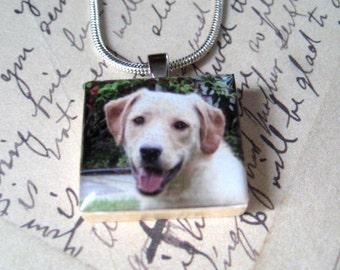Custom Photo Necklace...Close to My Heart Series....Vintage Scrabble Pendant