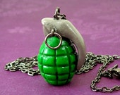 SALE Bright Green Grenade Necklace