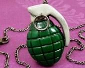 Grenade Necklace (dark green)