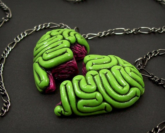 I Heart Brains Best Friends Necklace Set
