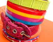 Rainbow Bright Mix-and-Match Stack of Eco-Friendly Bangle Bracelets - OOAK
