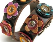 EcoDog Collar - Earthy Reclaimed Leather Flowers on Chocolate Brown Band - Size M - OOAK