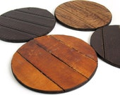 Leather Coaster Set, Trivets, Rustic, Eco Friendly, Recycled, Set of Four, Brown Tones, Table Setting, Unique, OOAK