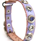 Leather Cat Collar in Rustic Lavender with Purple Rhinestones and Industrial Flowers, Size XS, 7-9 Neck