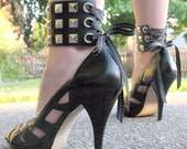 Ankle Corset Cuffs - Punk Studded Leather