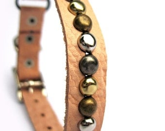 Leather Cat Collar - Mixed Metal Studs on Tan Textured Leather, Eco-Friendly - Size to fit a 8-10in Neck - OOAK