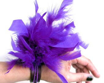 Leather Cuff Bracelet EcoAlternative Party Prom Corsage Wristband with Purple Feathers, Unique, OOAK