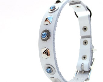 White Leather Cat Collar with Blue Gems and Pyramid Studs, Handmade, Eco-Friendly