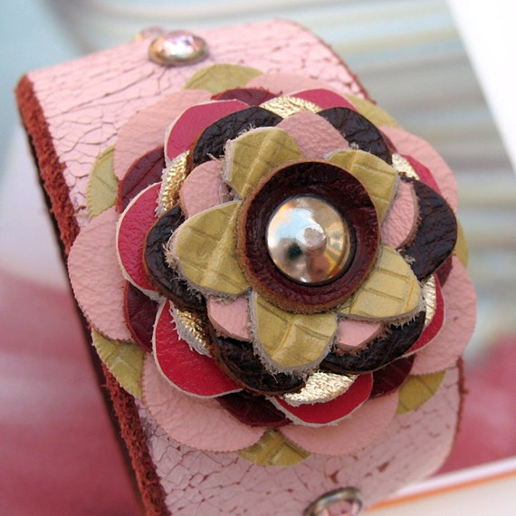 EcoCuff - Handmade Reclaimed Leather Flower on Crackled Pink Leather Band - OOAK