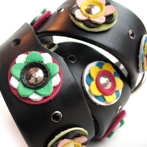 EcoDog Collar - Bright Flowers and Sparkles on Black Leather Band - Size XL - OOAK