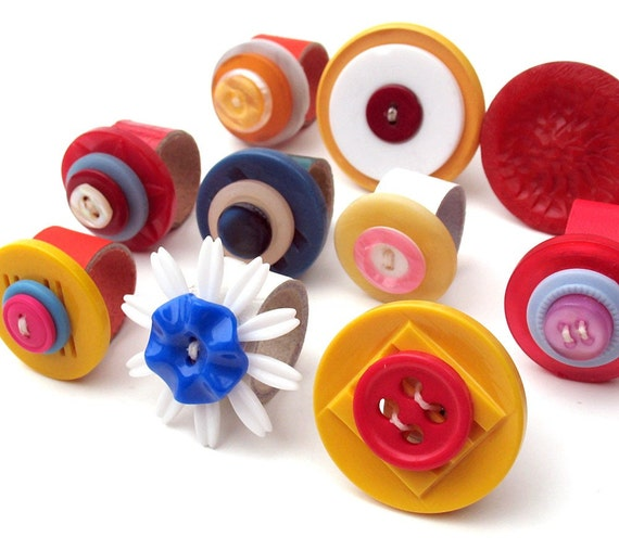 EcoRings - Wholesale Group - Color Pop Vintage Buttons on Reclaimed Leather Bands
