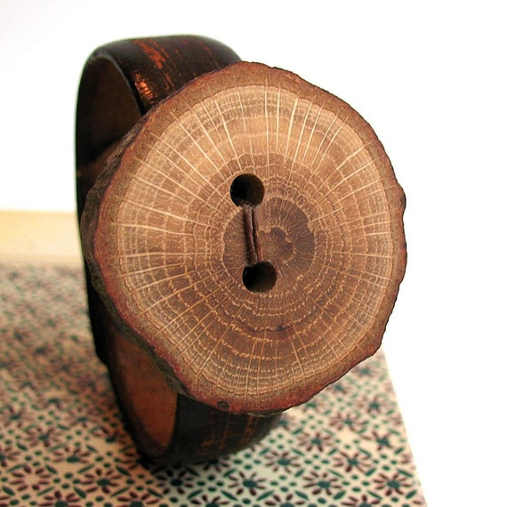 EcoCuff - Unique Tree Limb Button on Skinny Rustic Leather Band - OOAK