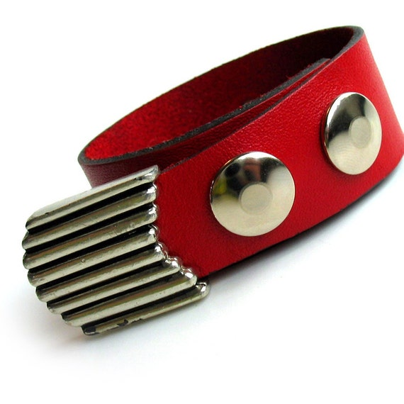 EcoCuff - Retro Art Deco Wing Tip on Red Leather - OOAK