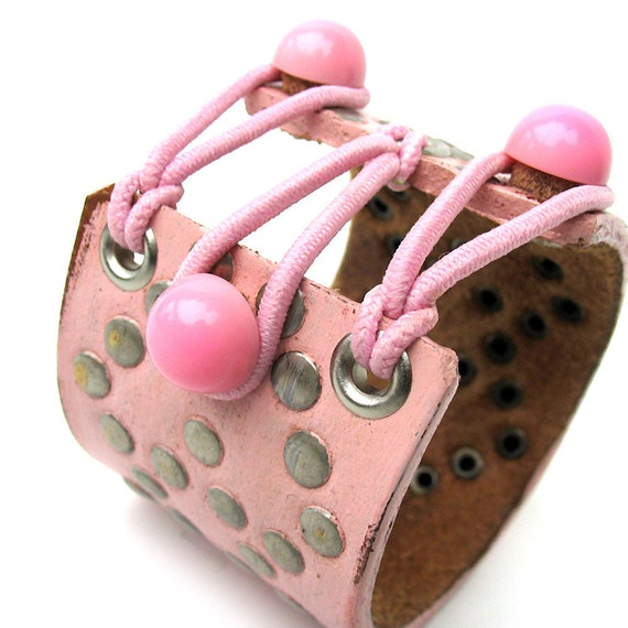 EcoCuff - Rustic Studded Pink Leather with Elastic and Vintage Button Corset - OOAK