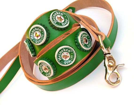 Green Leather Dog Collar and Leash Set with Reclaimed Heineken Bottle Caps, Size M/L, Medium Large Dog, Unique, Eco Friendly, OOAK