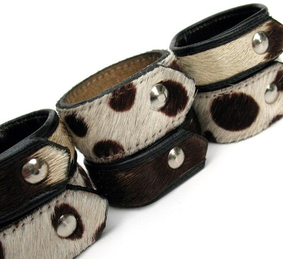 Napkin Rings in Mixed-up Furry Animal Print Leather - Set of Six - Eco-Friendly - OOAK