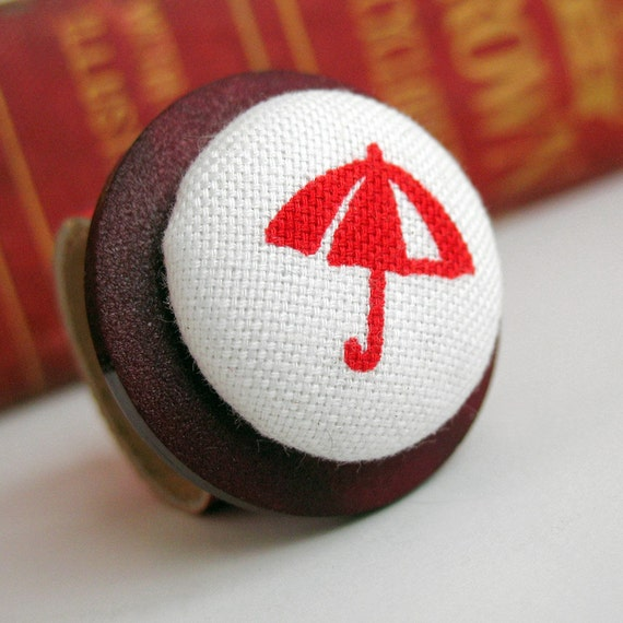 Button Ring, Eco Friendly, Size 6, Reclaimed Leather Band, Umbrella, Red, Rain, Costume Jewelry, Women, Teen Girl, Unique, OOAK