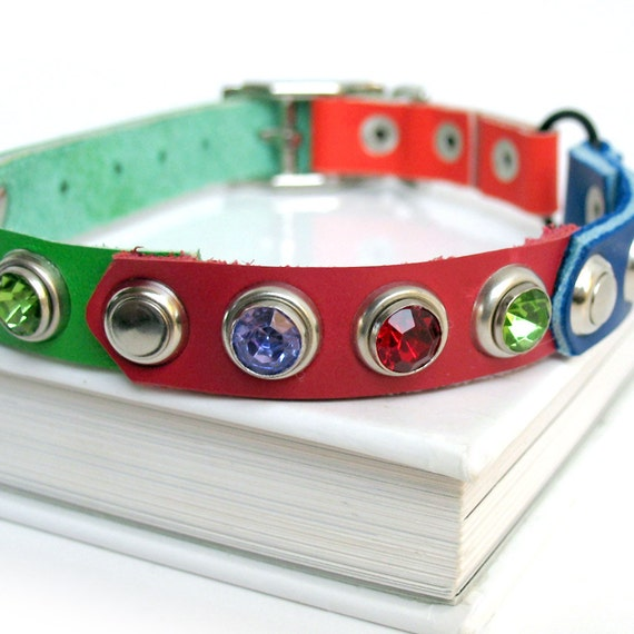 Color Block Leather Cat Collar with Silver Metal and Colorful Sparkles, Size XS/S, 8-10in Neck, Eco Friendly, Unique, OOAK