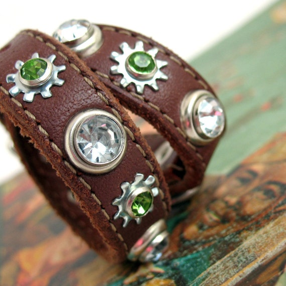 Dog Collar in Chocolate Brown with Clear and Mint Sparkles with Industrial Silver Metal Accents - Size XS/S - OOAK