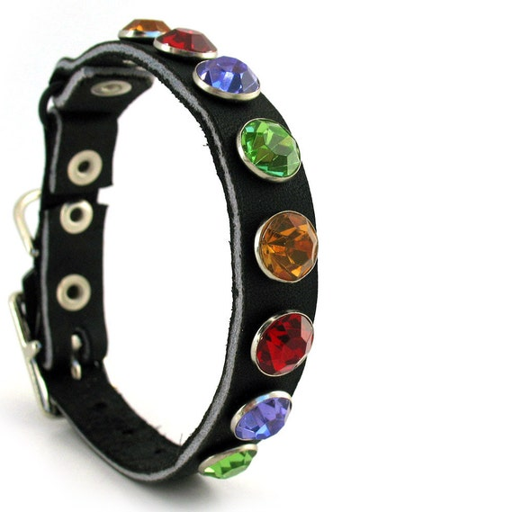 Leather Cat Collar with Giant Jewel Tone Crystals, Size XS, 7-9 Neck, Eco-Friendly, Reclaimed Leather, OOAK