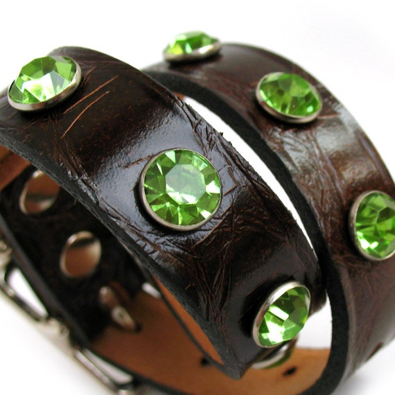 Leather Dog Collar in Chocolate Brown with Mint Green Rhinestones, Size S, Small Dog, 11-14 Neck, Eco-Friendly, OOAK
