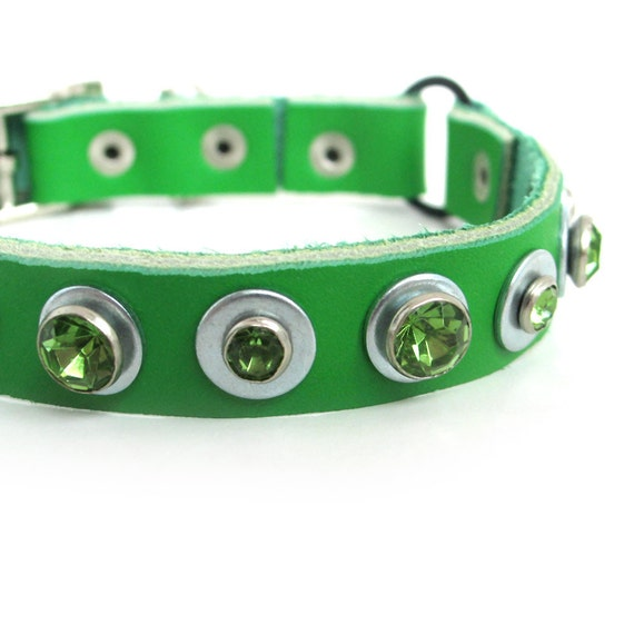 Bright Green Leather Cat Collar with Crystals, Size XS, 7-9in Neck, EcoFriendly, Reclaimed Leather, OOAK