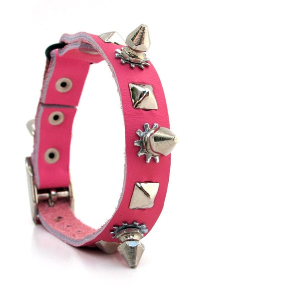 Tough Girl Cat Collar in Pink Leather with Spikes and Studs, EcoFriendly, Reclaimed Leather, Size XS, to fit a 7-9in Neck, Unique