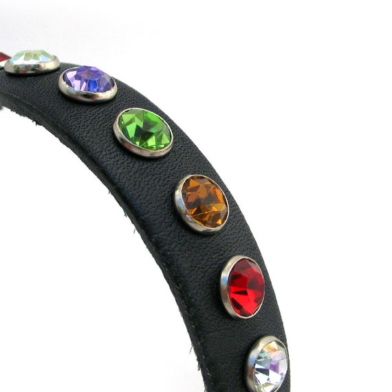 Navy Blue Leather Dog Collar with Jewel Tone Crystals, Size XS, Extra Small Dog, 7-9in Neck, EcoFriendly, OOAK, by Greenbelts