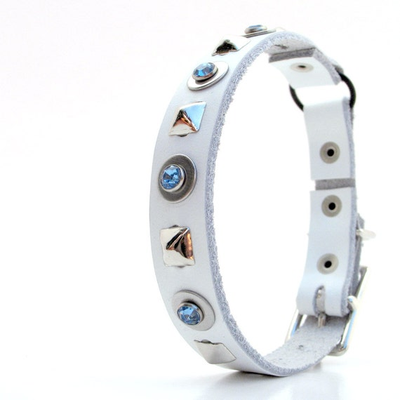 White Leather Cat Collar with Blue Sparkles and Pyramid Studs, Size XS/S, 8-10in Neck, Eco-Friendly, OOAK