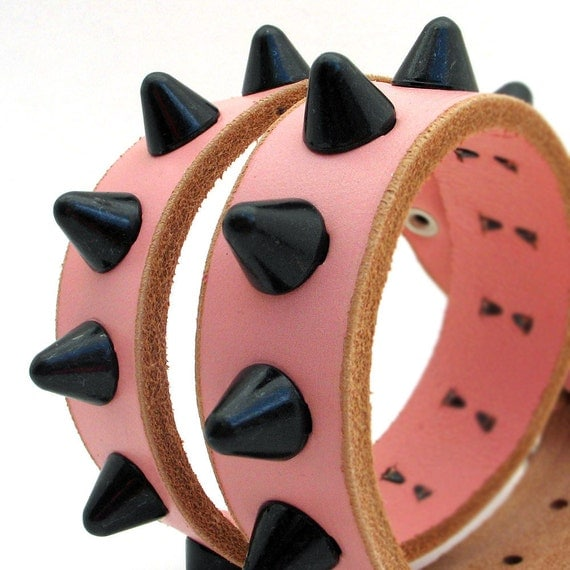 Leather Dog Collar in Pale Pink with Black Gentle Spike Studs, Size M/L, Medium to Large Dog, 16-19in Neck, EcoFriendly, Unique, OOAK
