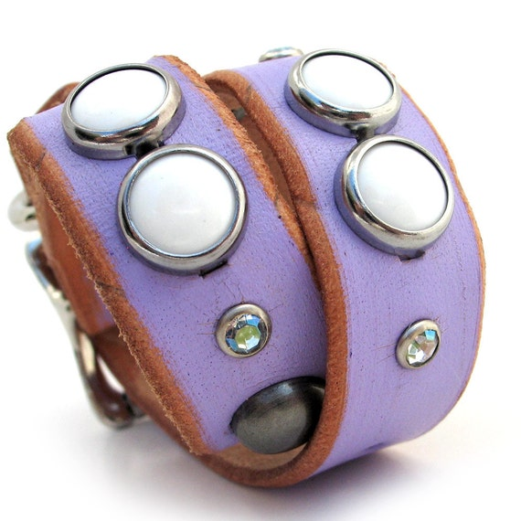 Eco Dog Collar - Lavender Leather with Studs and Sparkles - Size S - Small Dog - to fit a 9-12in Neck - OOAK