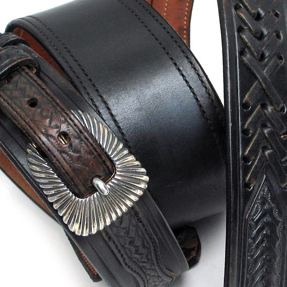 Guitar Strap in Black Leather with Vintage Tooling and Stitching, Eco-Friendly, Unisex, Unique, OOAK