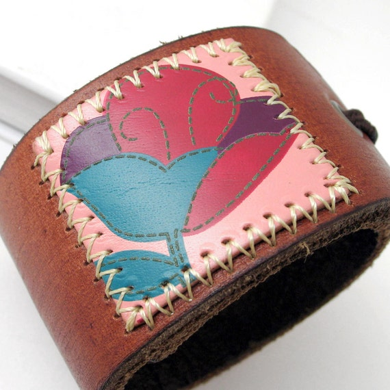 Patchwork Tulip Stamp on Leather Cuff Bracelet with Adjustable Elastic Closure, EcoFriendly, OOAK