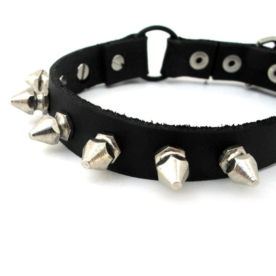 Leather Cat Collar, Size XS, Tough Kitty Spikes and Studs, Eco Friendly, Reclaimed, Safety, Biker Style Black Leather, Punk, OOAK