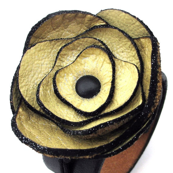 RESERVED For Jeremy - Leather Cuff Bracelet with Pale Yellow Poppy Flower, Eco-Friendly, Women, Corsage, OOAK, by Greenbelts