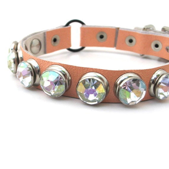 Pale Peach Leather Cat Collar with Large Rhinestones, Size XS, to fit a 7-9in Neck, Eco-Friendly, OOAK