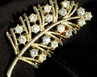 SaLe Estate Jewelry Rhinestones Vintage Brooch Pin Spray Crystals Mid Century Mad Men Bling Joan Holloway Wedding Cut Out Leaf Bride Costume