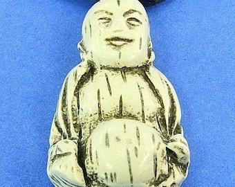 Buddha SaLe Vintage Necklace Pendant Carved Faux Bone Good Luck Spiritual Satin Cord Unique Groovy Happy Boho Hippie Smiling That 70s Show