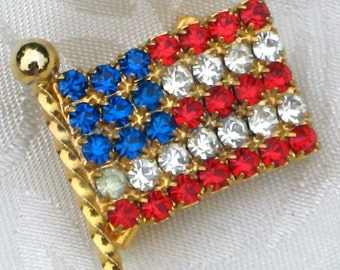Flag Vintage Brooch Pin American USA Estate Jewelry Mod Rhinestones Patriotic Red White Blue Bling Lapel July 4th Independence Day Prong Set