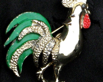 Mod Vintage Brooch Pin Ornate Rooster Feathers Farm Mid Century Bright Bold Designer Signed Gerry's High Relief Emerald Green Red Figural