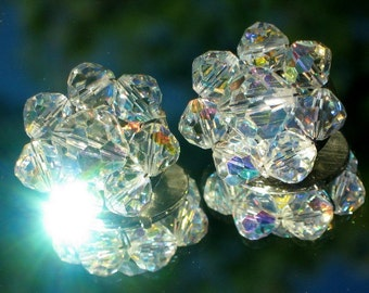 Marilyn AB Crystal Vintage Earrings Bling Wedding Mid Century Clusters Hand Wired Clips Antique Aurora Borealis Estate VLV Art Deco Mad Men