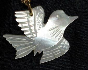Peace Dove Vintage Necklace Carved MOP Love Joy Pendant Mother of Pearl Mid Century 1960s 1970s Chain Unique Spiritual Jesus