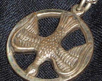 Peace Dove Pendant Vintage Necklace Charm Joy Love Modernist Embossed Spiritual 60s 70s NOS Detailed Dimensional Christian Mid Century Mint