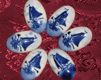 DeLft Vintage Sailboats Rare Cabochons Lot 6 NOS Signed Cabs Jewellrey Costume Making Cameos Porcelain Blue Holland Hoffman 60's Mid Century