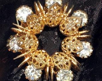 Estate Vintage Rhinestones Brooch Pin Eternity Wedding Jewelry Bride Mother Mid Century Ornate Prong Set Mad Men Filigree VLV Bling Crystals