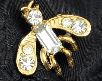 Estate Jewelry Bug SaLe Insect Vintage Brooch Pin Rhinestones Sparkling Collectible Unique Fly Mosquito Insect Bling Figural Summer Sparkle