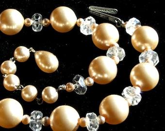 CrystaLs Pearls Vintage Necklace Wedding Prom Choker Marilyn Elegant Signed Antique Japan Mid Century Mad Men Evening Formal Art Deco